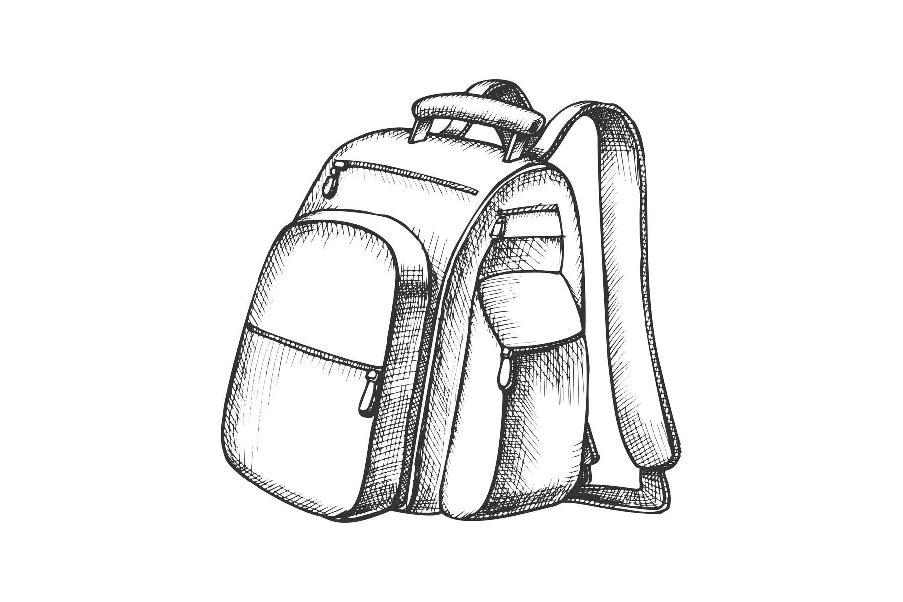 Modern Tourist Backpack Suitcase Monochrome Vector example image 1