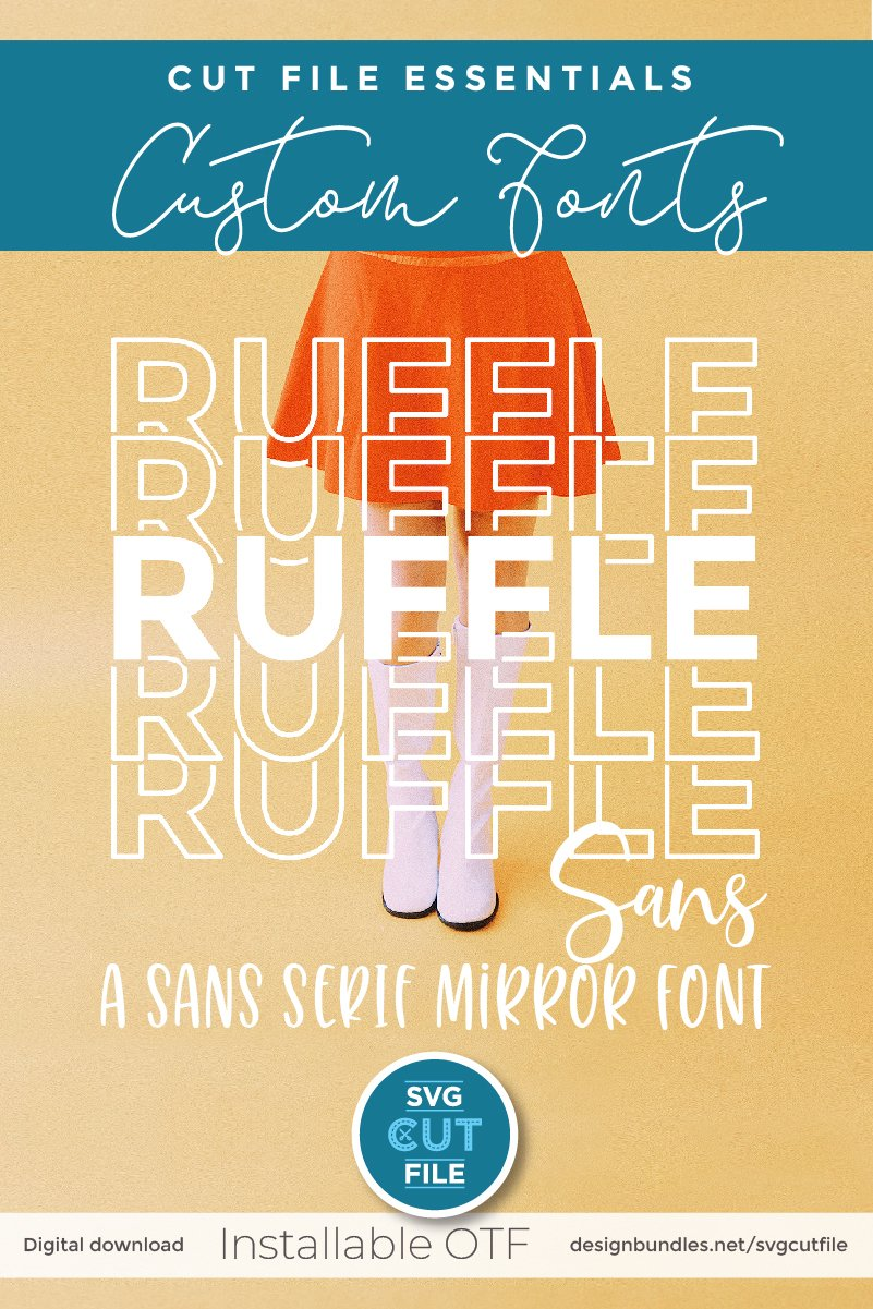 Ruffle Sans Mirror font with stacked letters - an OTF file example image 6