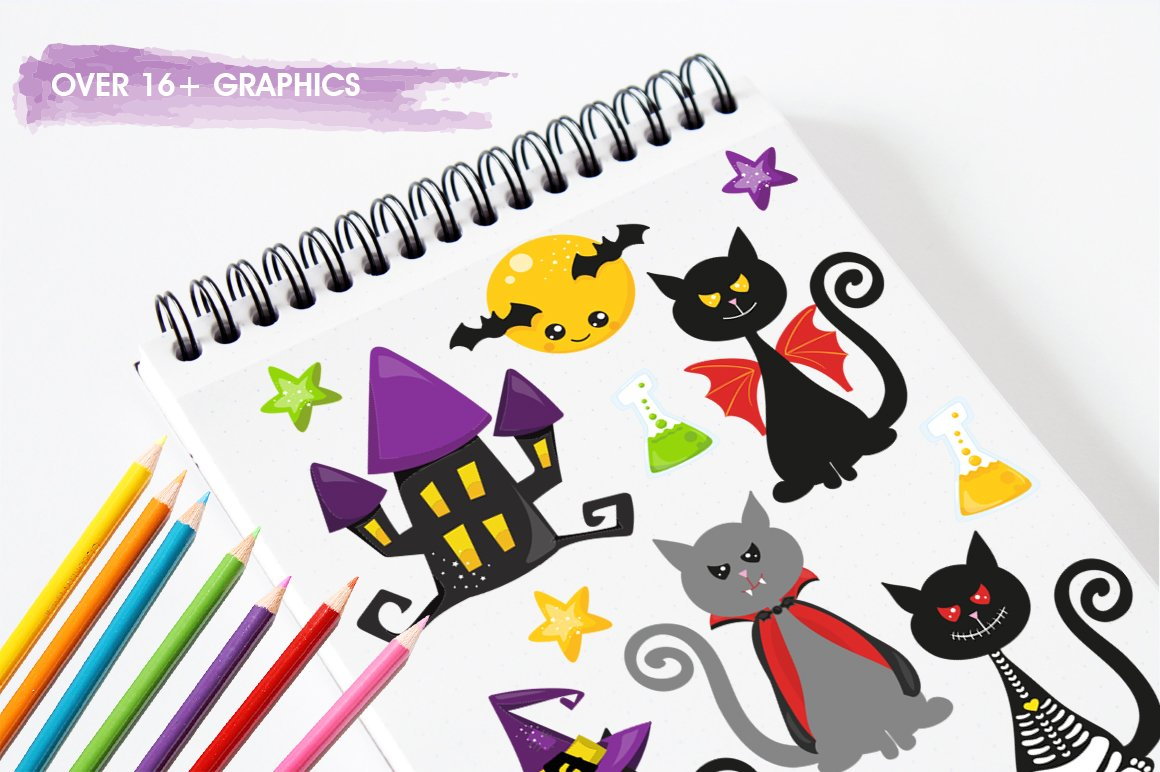 Halloween Cats Graphics and illustrations, vecto example image 5