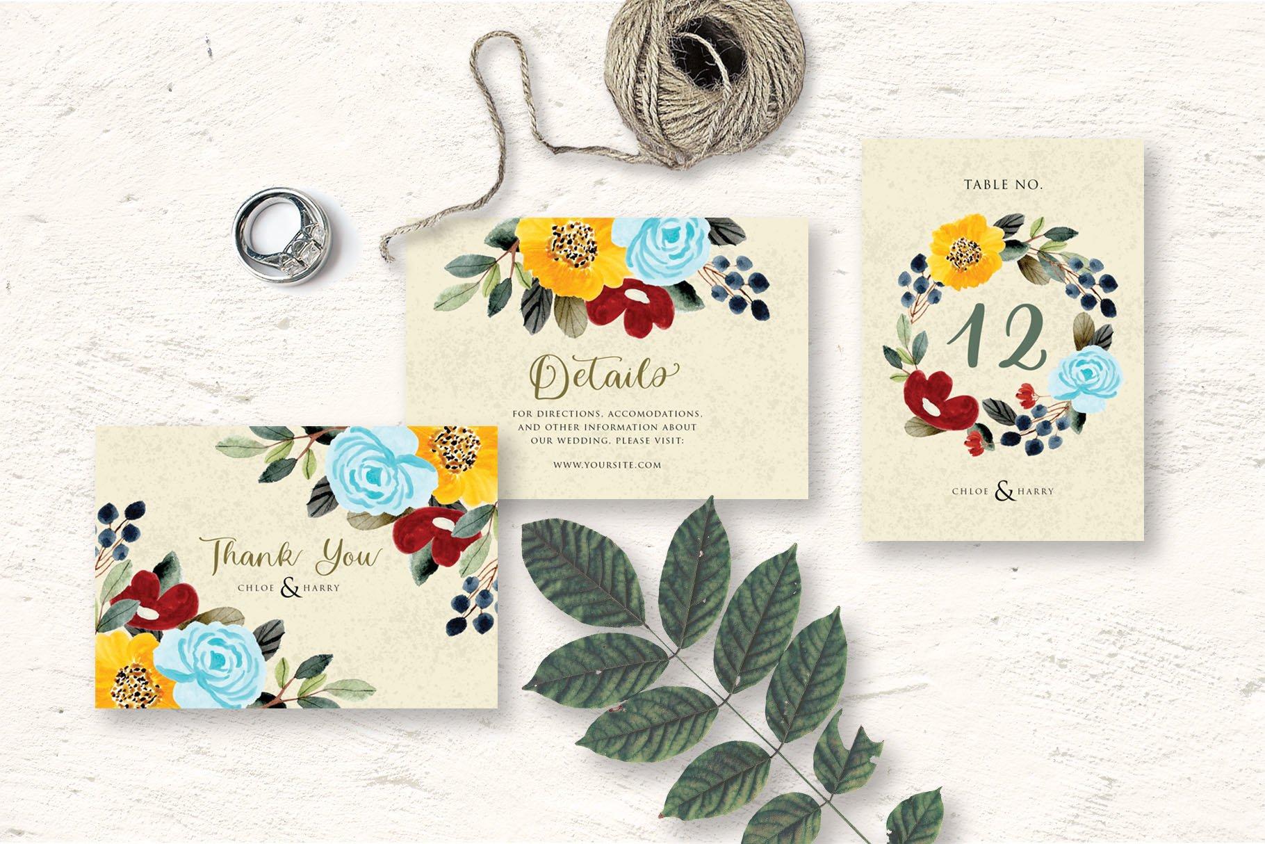 Beautiful Flower Wedding Invitation Set example image 2