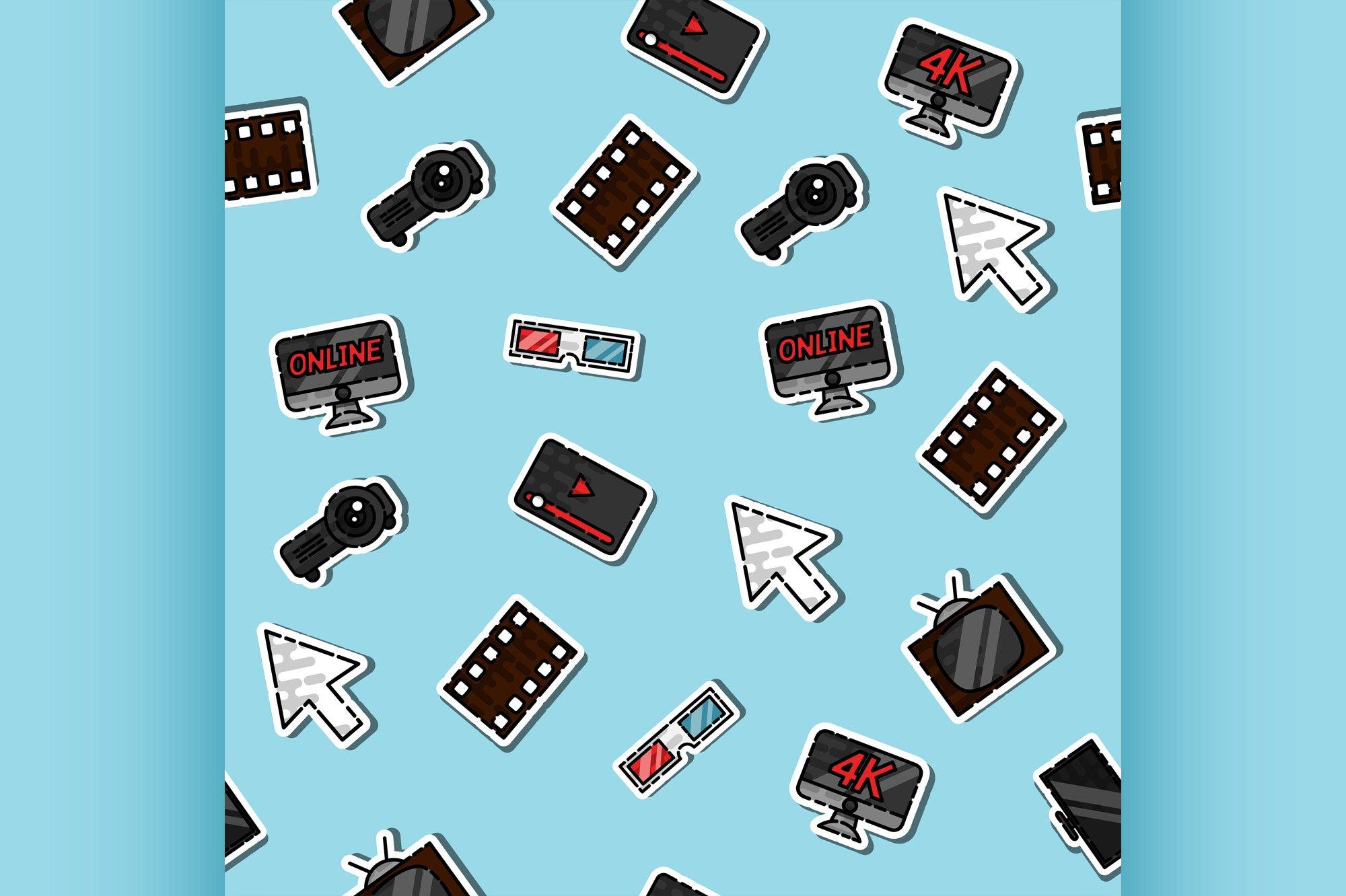 Hand drawn online cinema pattern example image 1