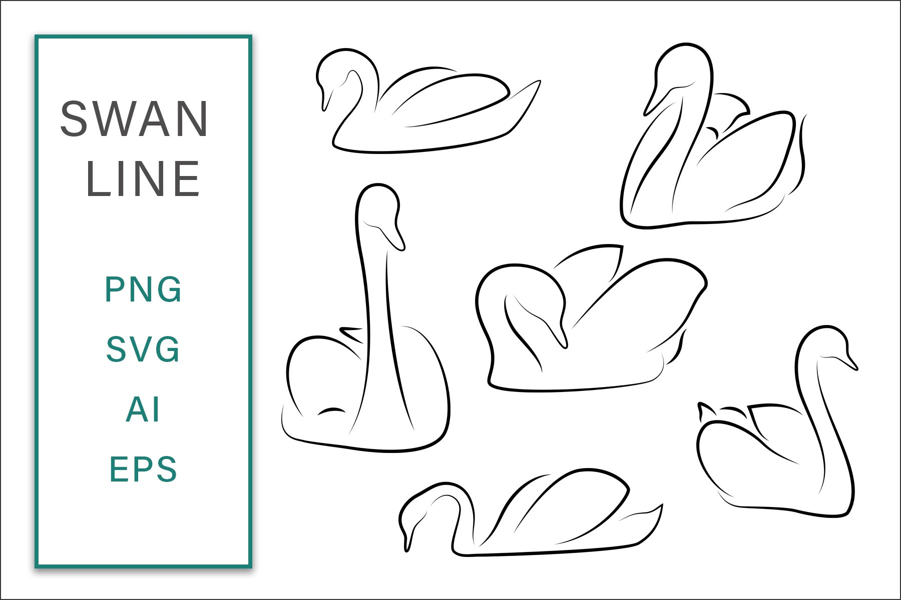 Swan line Clip Art Vector SVG Illustration example image 1