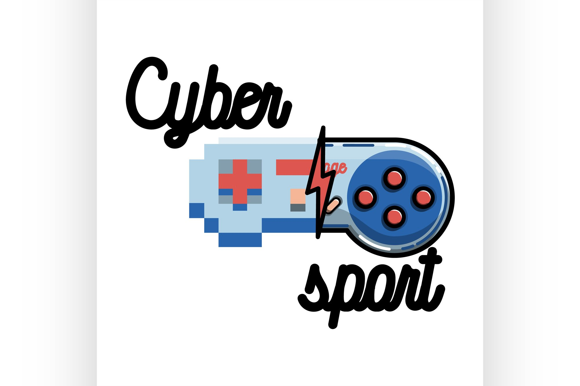 Color vintage cyber sport banner example image 1