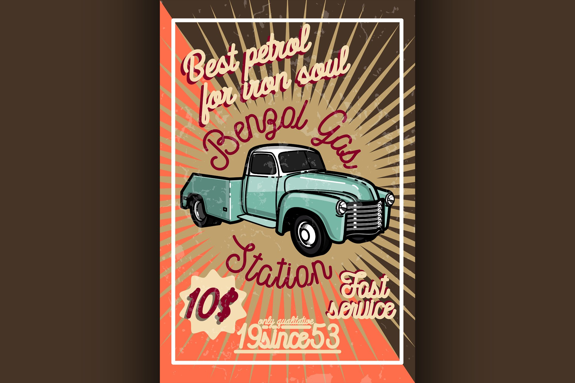 Color vintage gas station poster example image 1