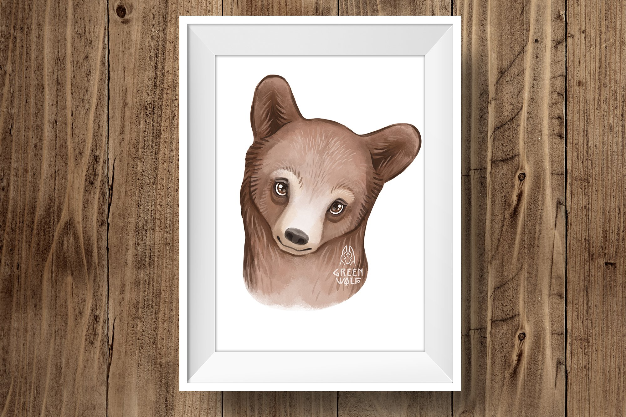 Grizzly bear watercolor illustration Woodland nursery decor example image 5