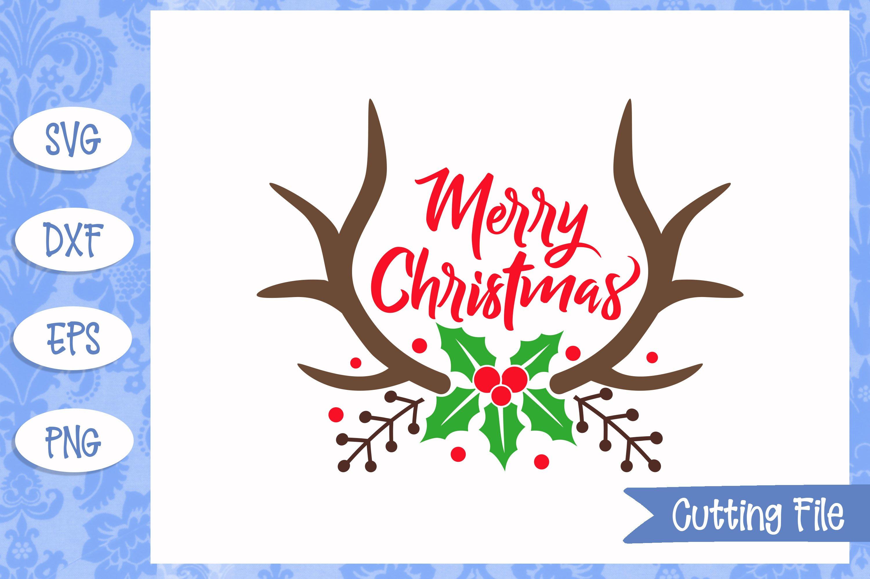 Merry Christmas Antlers Christmas Svg File