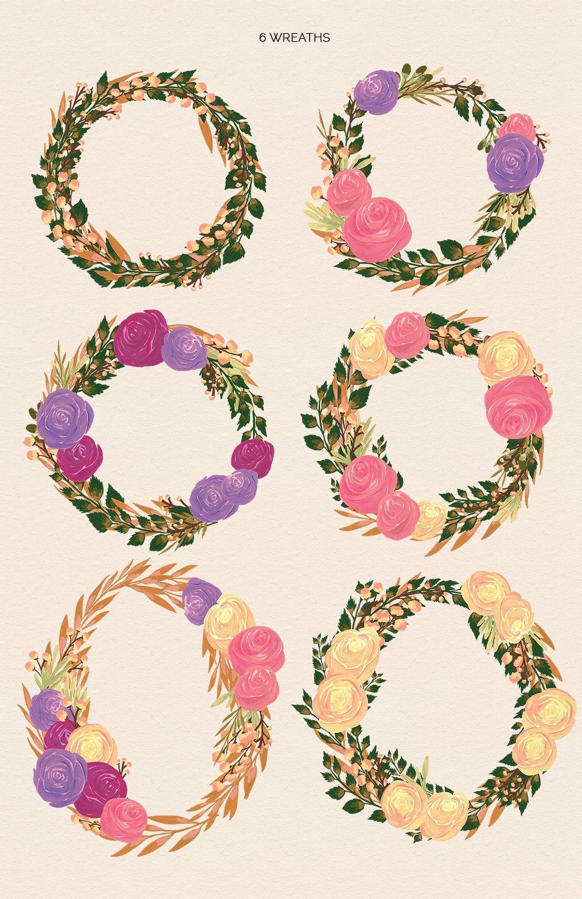 Puspita Gouache Flowers Design Set example image 3