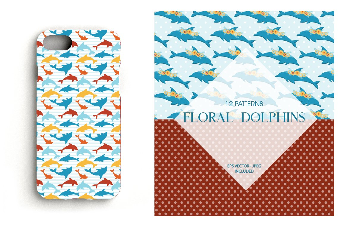 Floral Dolphins Pattern collection, vector ai, eps and example image 4