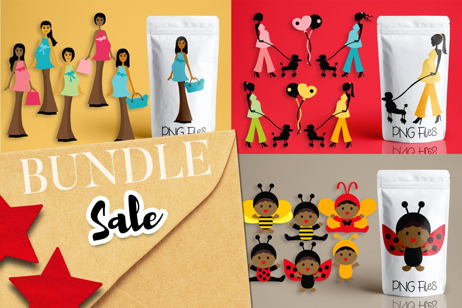 Maternity, black woman and baby illustrations bundle example image 1