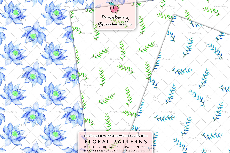 Watercolor Floral Digital Paper Pack example image 4