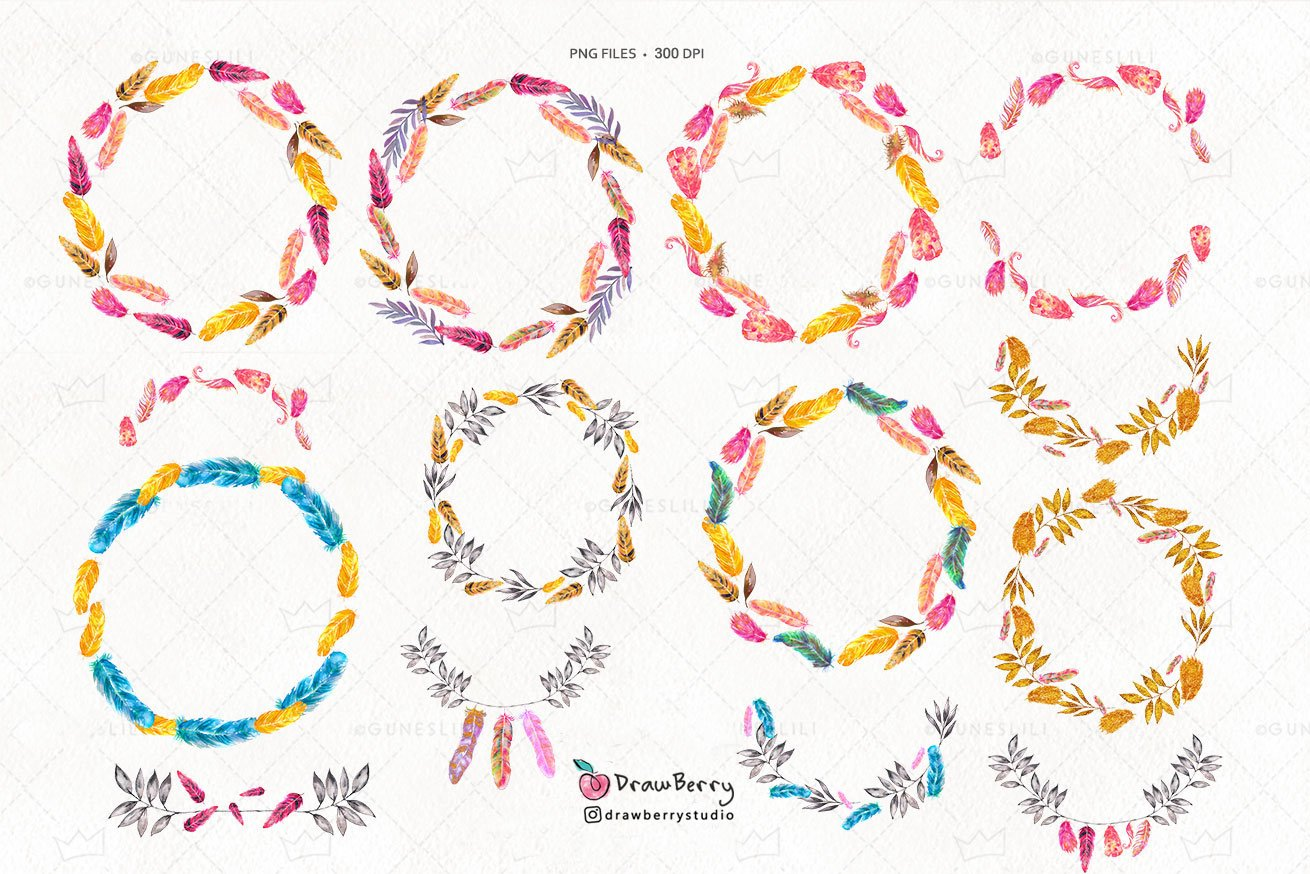 Watercolor Feather Wreath Clipart Pack example image 2