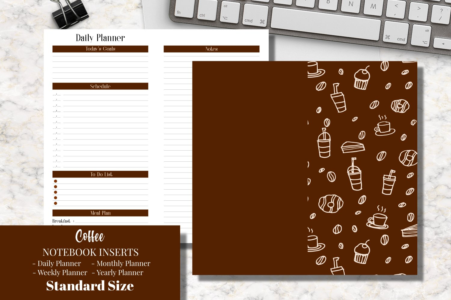 Coffee Standard Size Notebook Inserts Planner example image 1