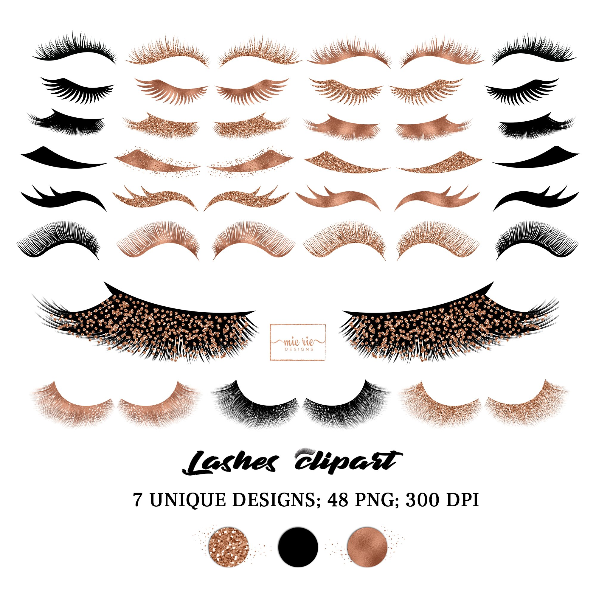Set of rose gold foil, rose gold glitter and black lashes example image 2