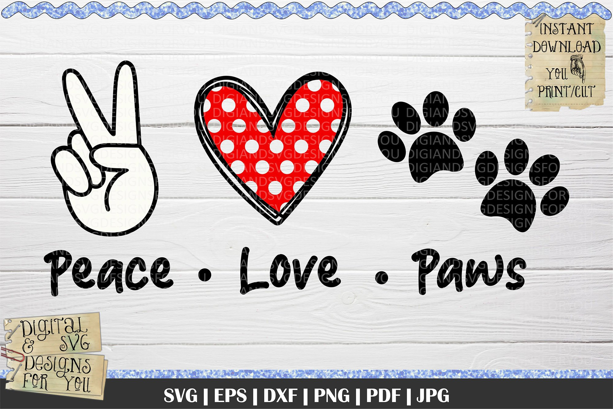 Download Peace Love Dogs Svg Crafters File