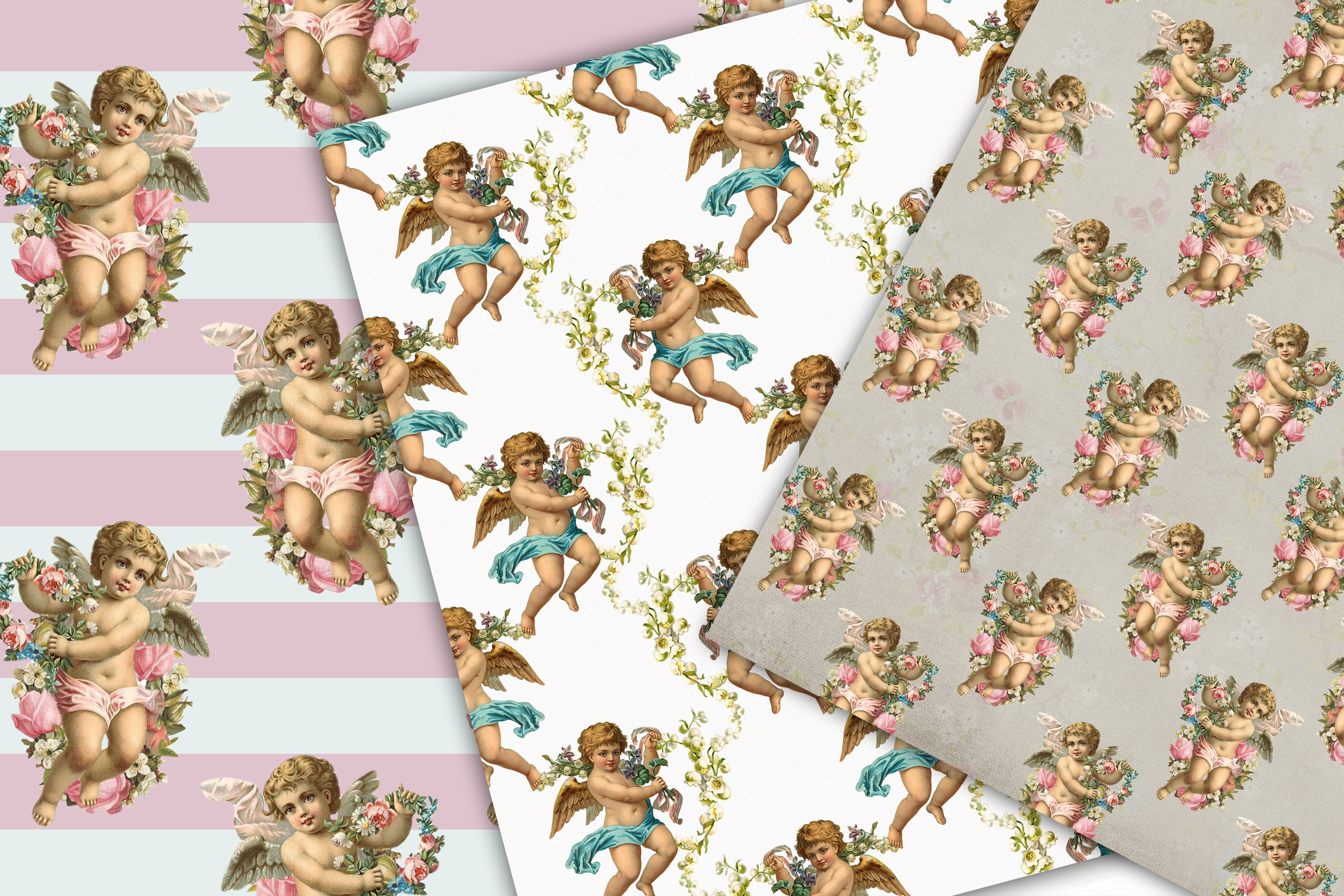 Cherub Angel, Seamless Paper Pack, Digital Background example image 2