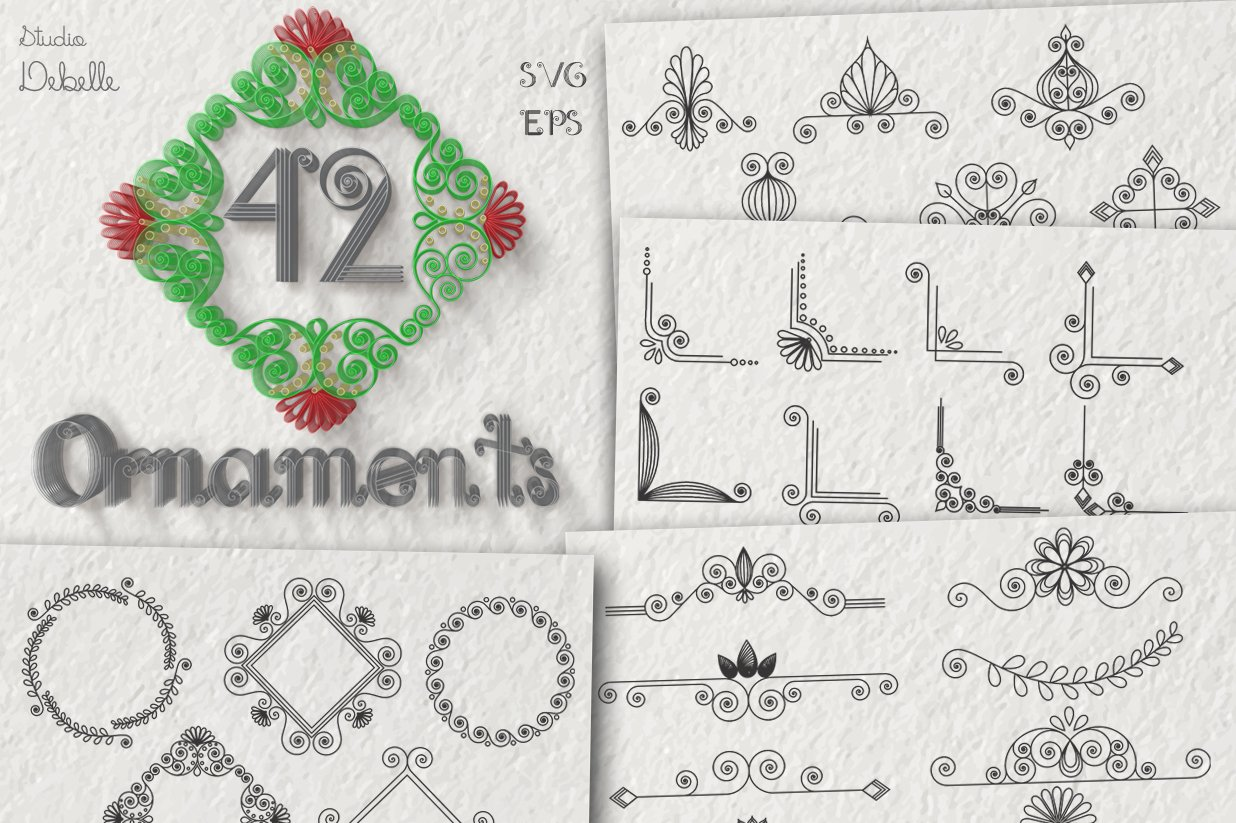 Helevo - Font and Ornaments - Quilling Pack example image 3