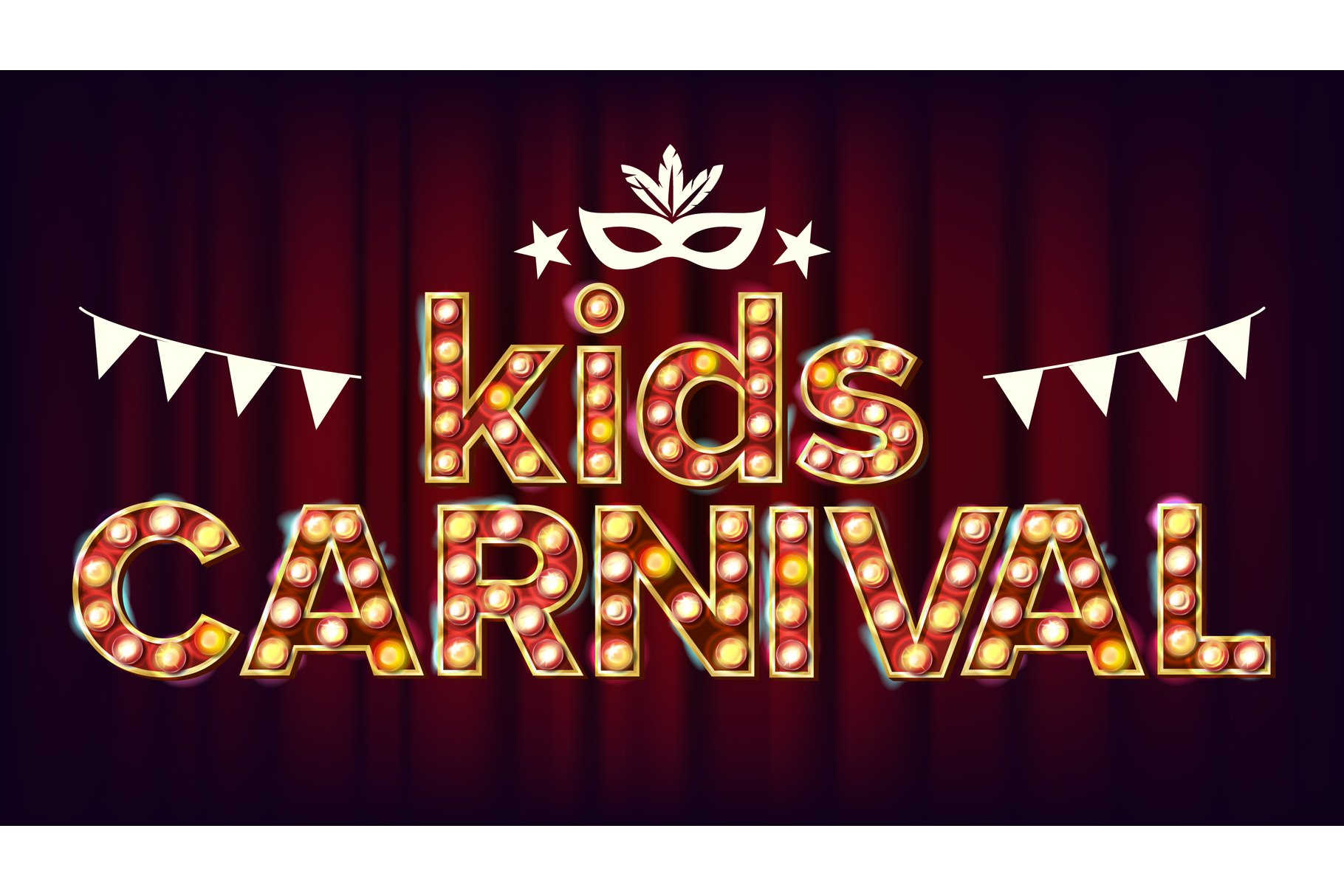 Kids Carnival Poster Vector. Carnival Glowing Lamps. For example image 1