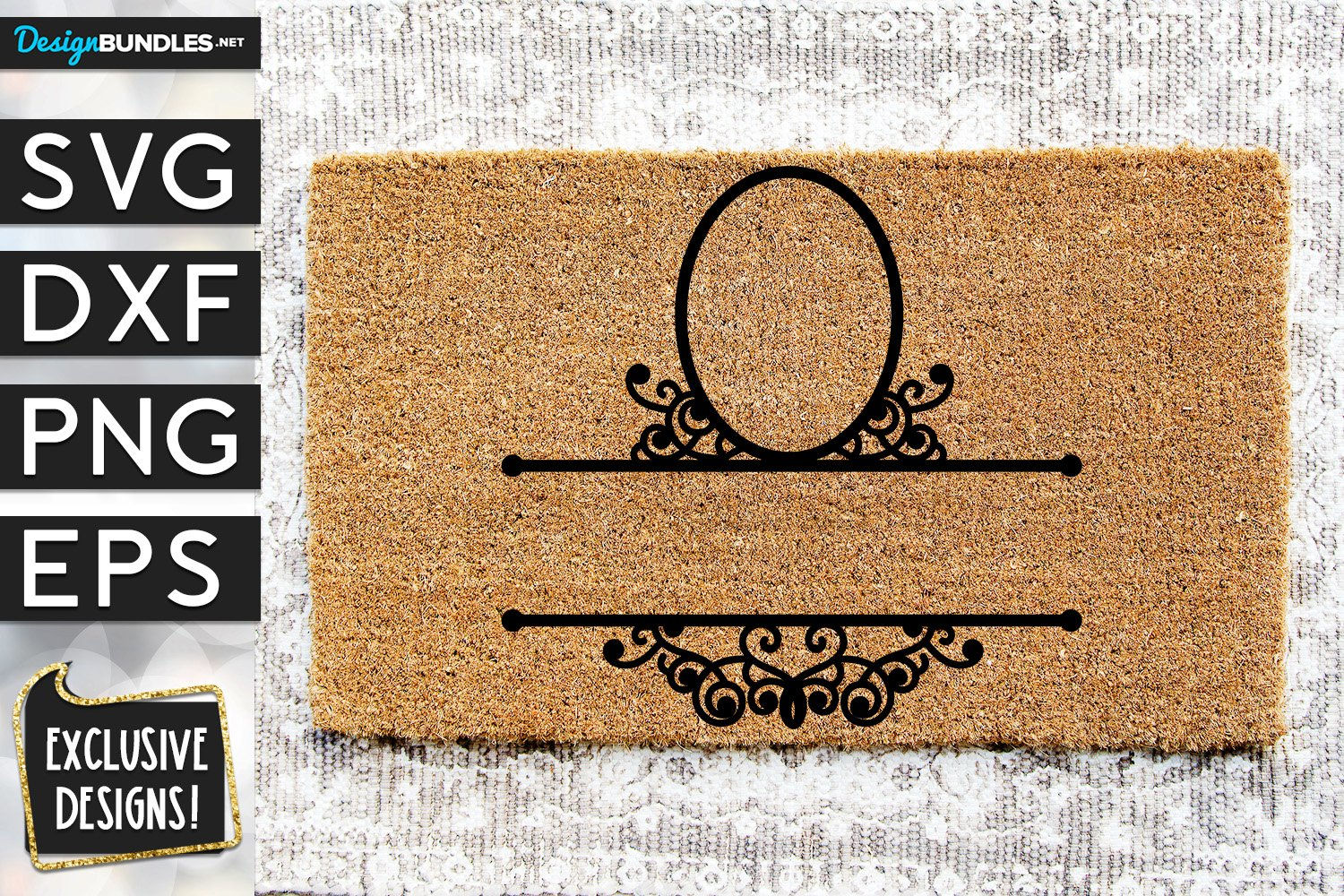 Ornate Welcome Mat Monogram Frame SVG DXF PNG EPS example image 1