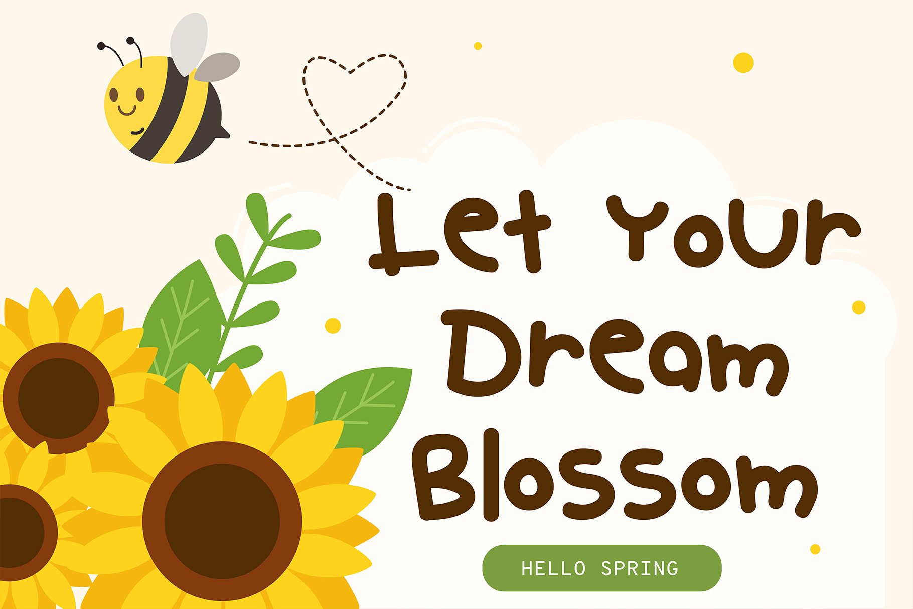 Hello spring Handwritten- Cute Baby font Kawaii style! example image 2
