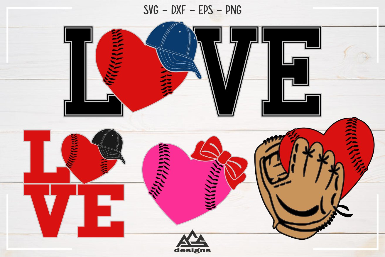 Download Baseball Ball Hat Glove Love Sport Svg Design 430969 Cut Files Design Bundles