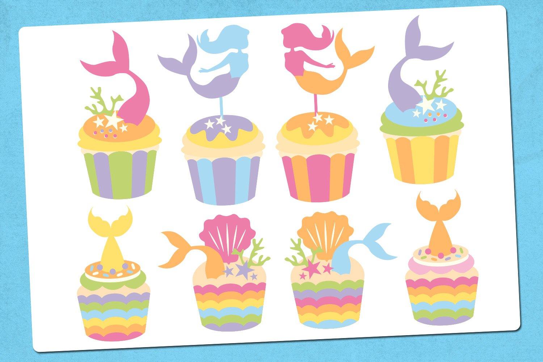 Mermaid cupcake illustrations clip art example image 2