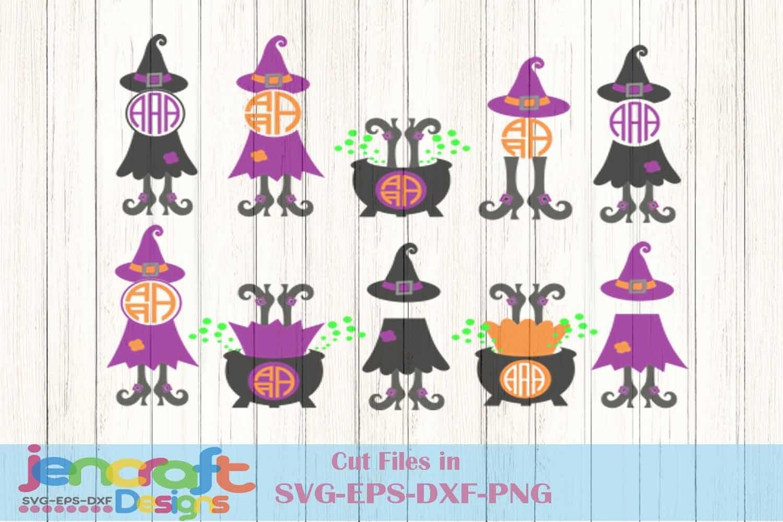 Witch Svg Monogram Halloween Witch Legs In Cauldron Design 123298 Svgs Design Bundles