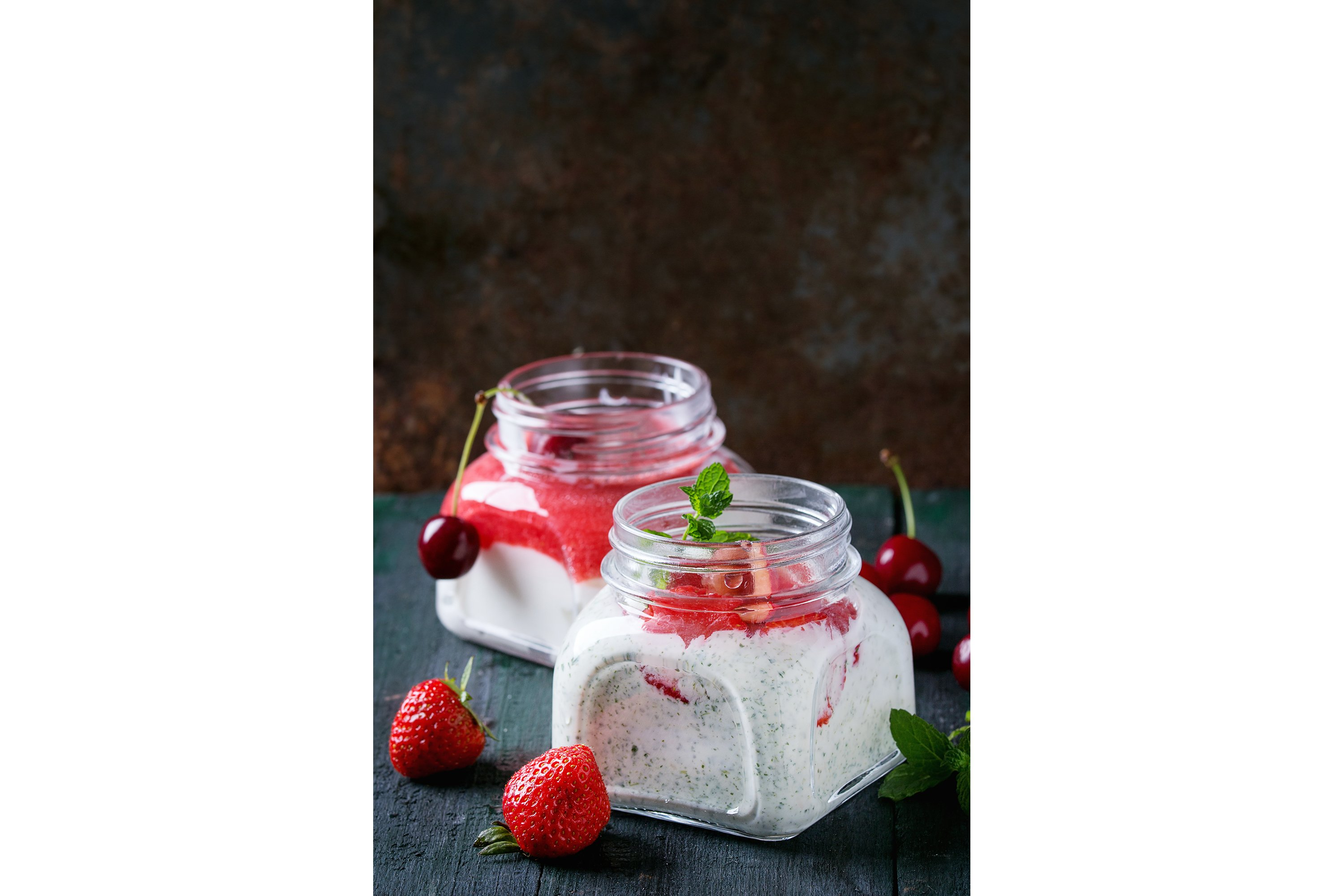 Yogurt with mint and cherry example image 1