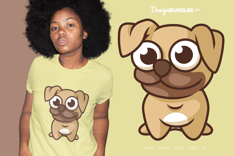 Big-Headed Pug Vector Illustration For T-Shirt Design example image 1