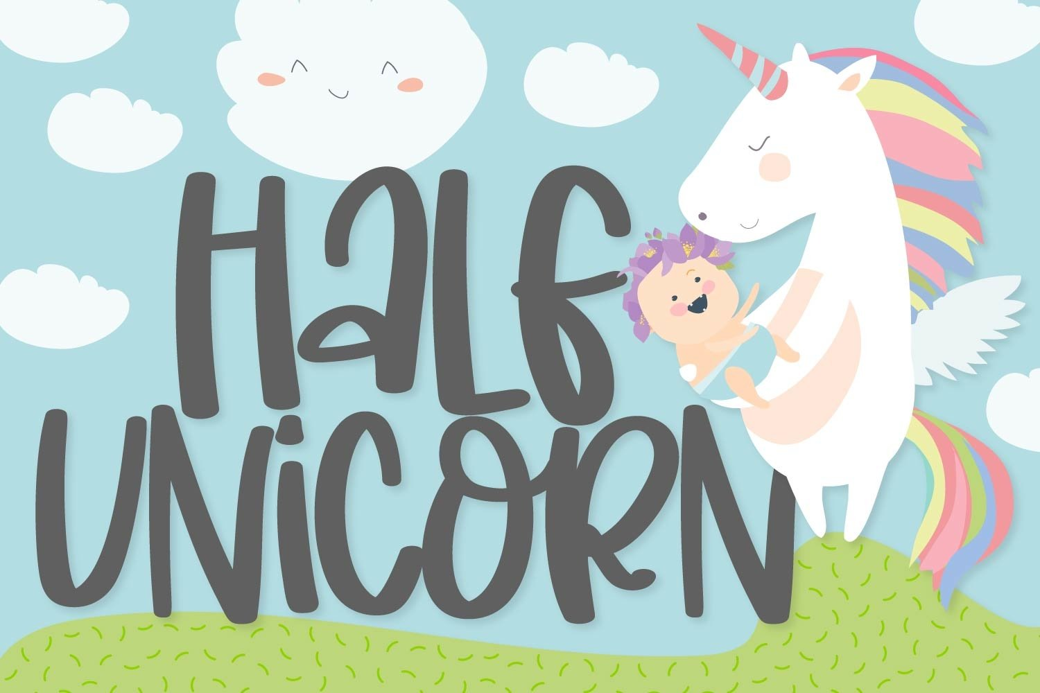 Half Unicorn - A Silly Hand Written Type example image 1