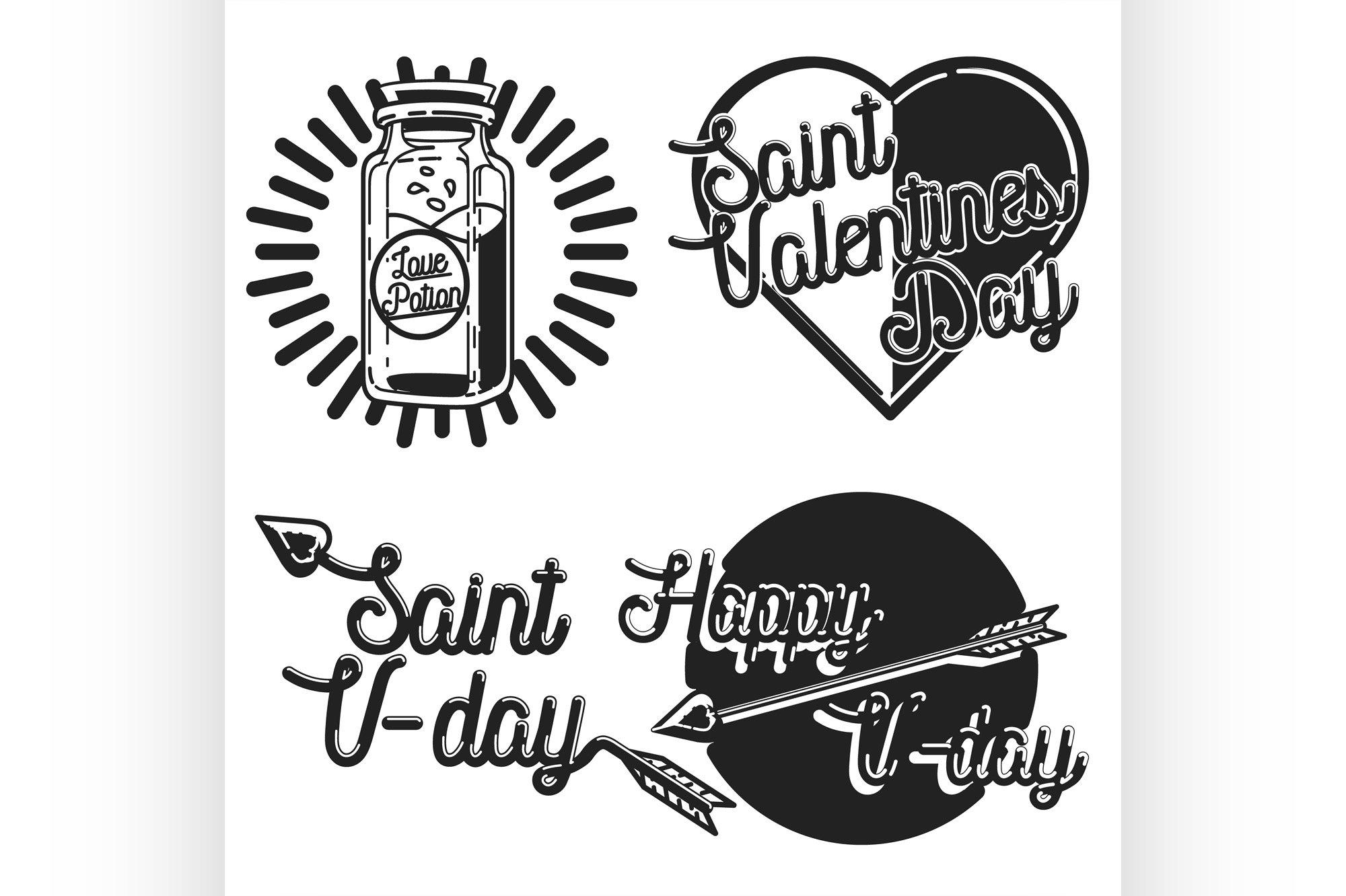 Vintage Valentines day emblems example image 1