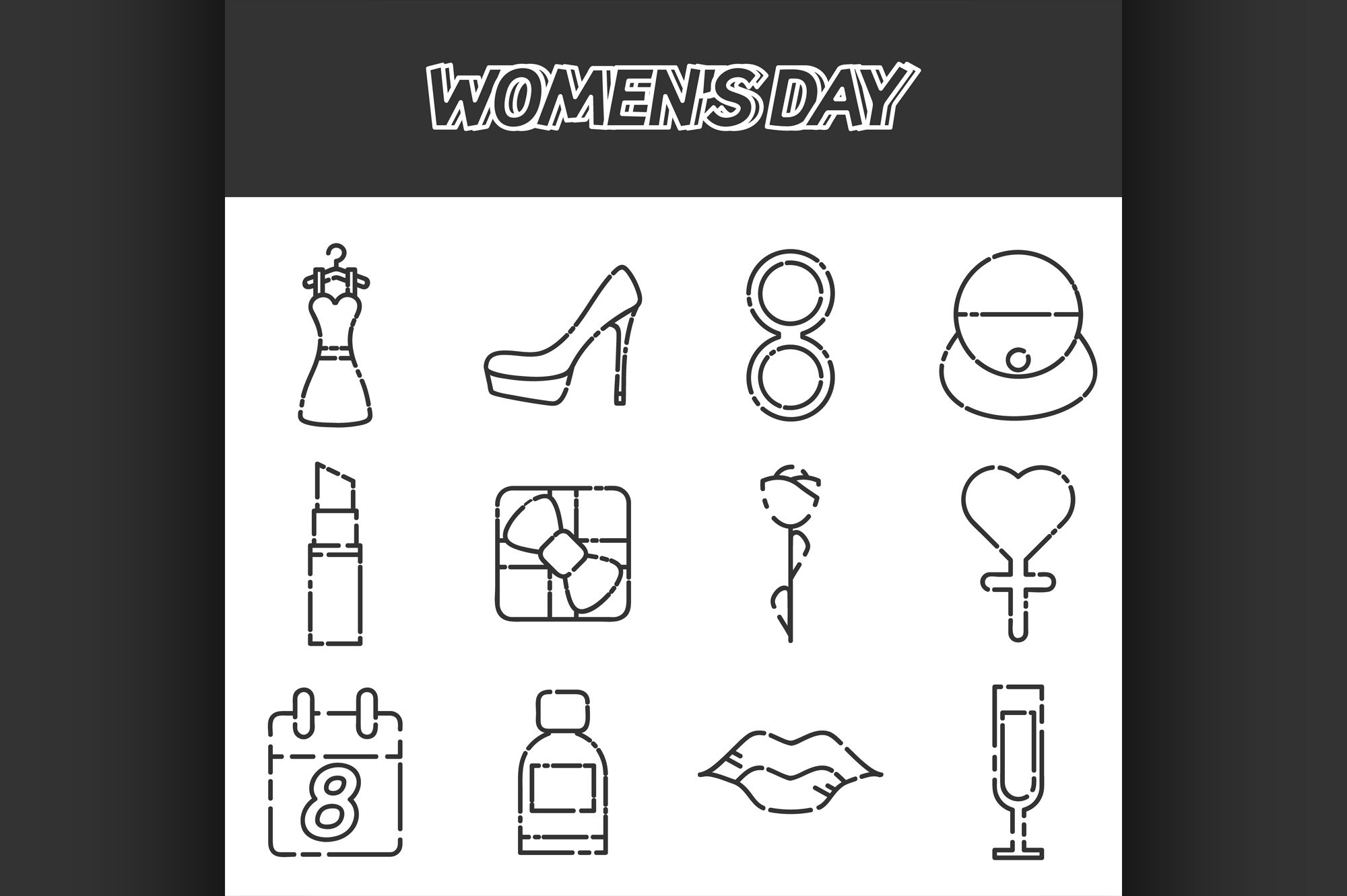 Womens day icons set example image 1