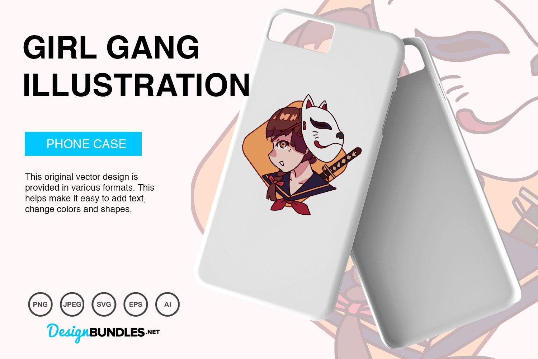 Cute Girl Gang Vector Illustration example image 3