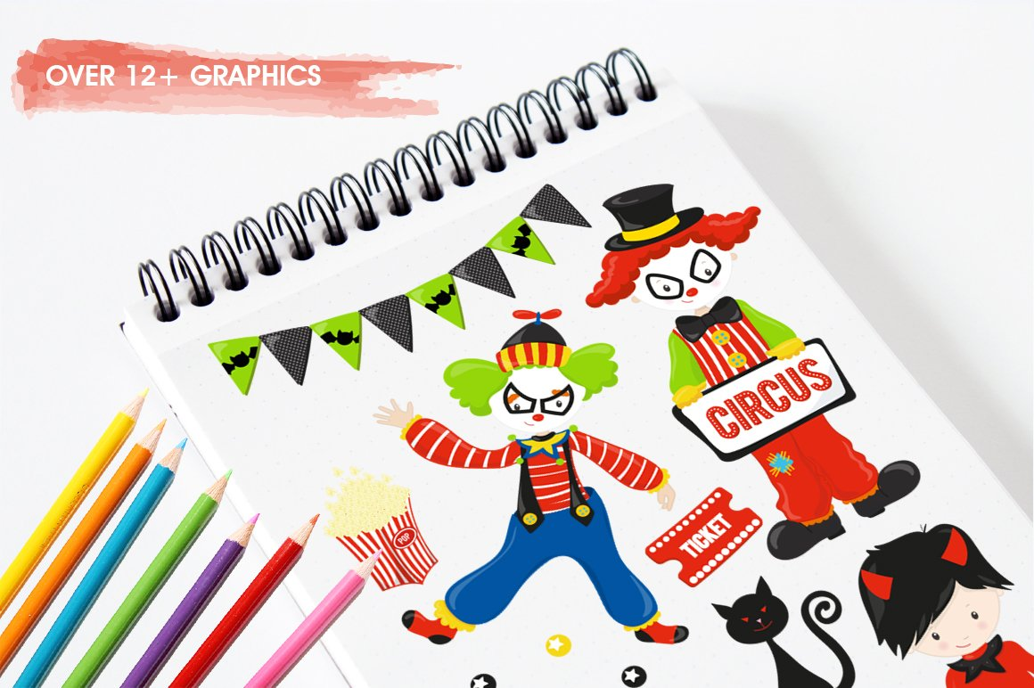 Halloween Circus Graphics and illustrations, vector example image 4