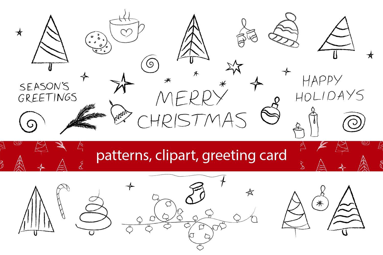Christmas Patterns Clipart Card Christmas Doodle Bundle 902296 Elements Design Bundles