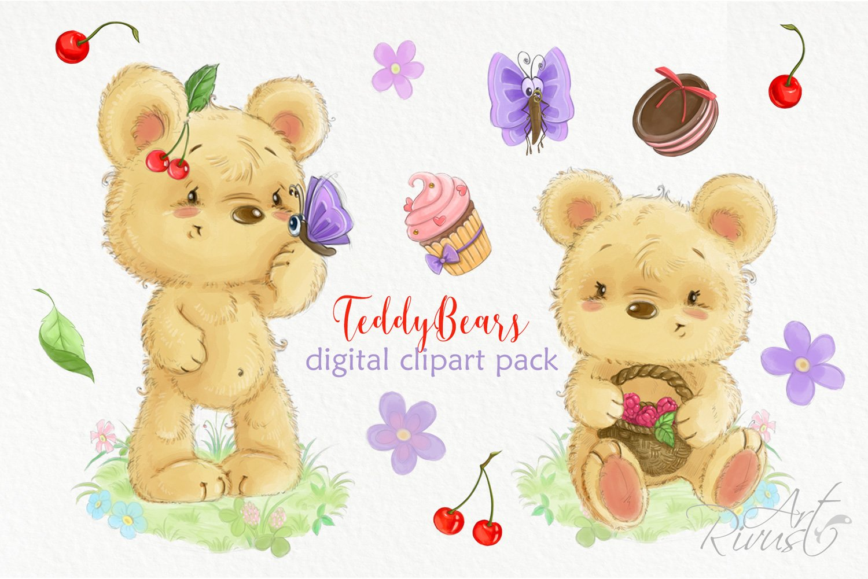Cute digital watercolor bear clipart Summer clipart Cherry