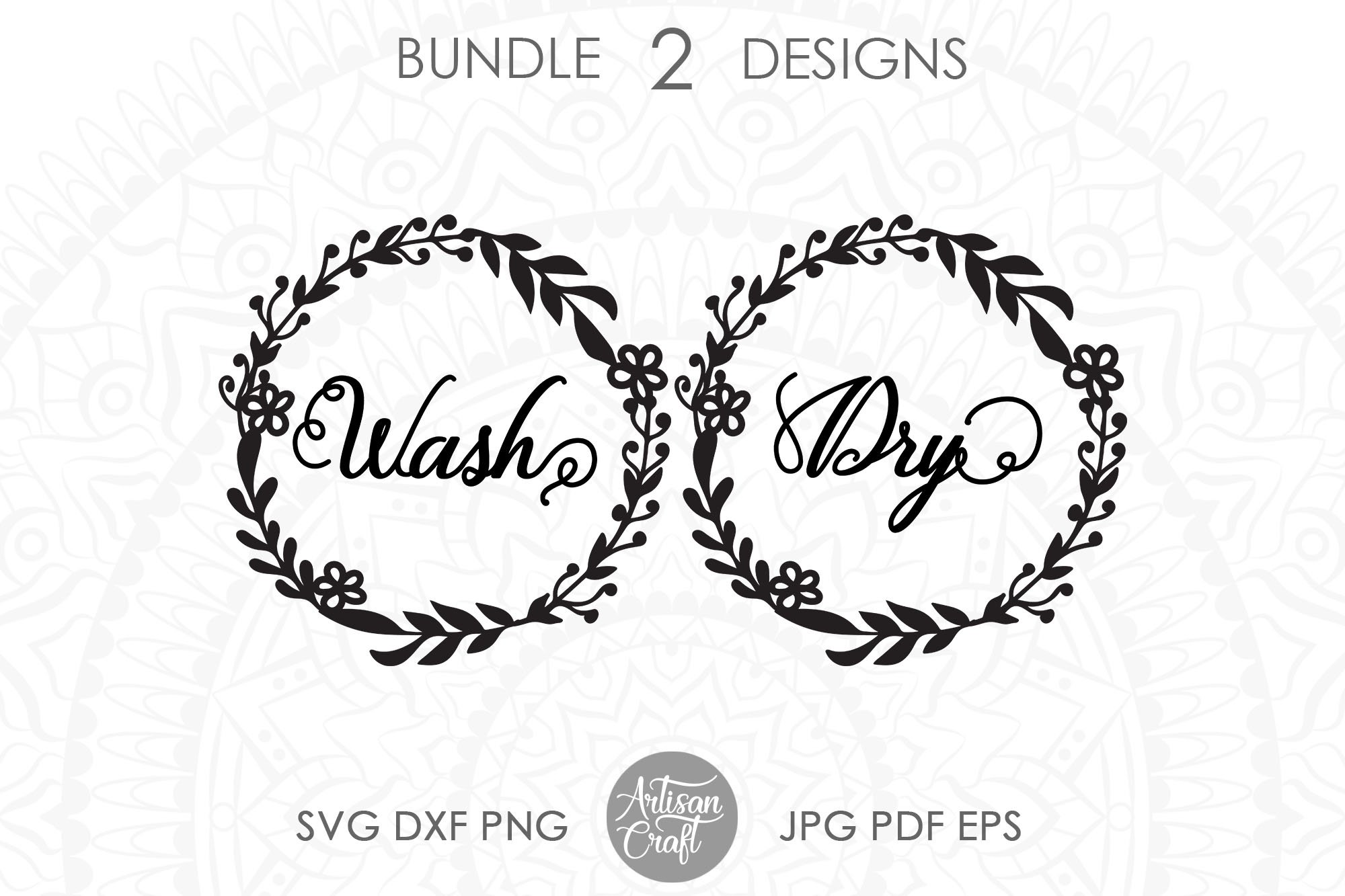 Wash dry svg, washer dryer decals, floral wreath png example image 1