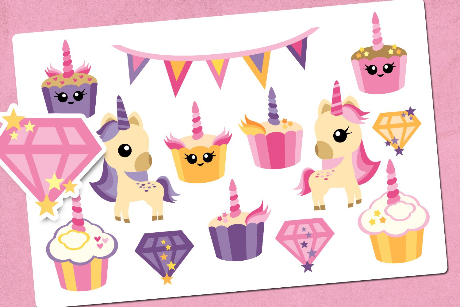 Unicorn cupcakes party illustrations example image 1