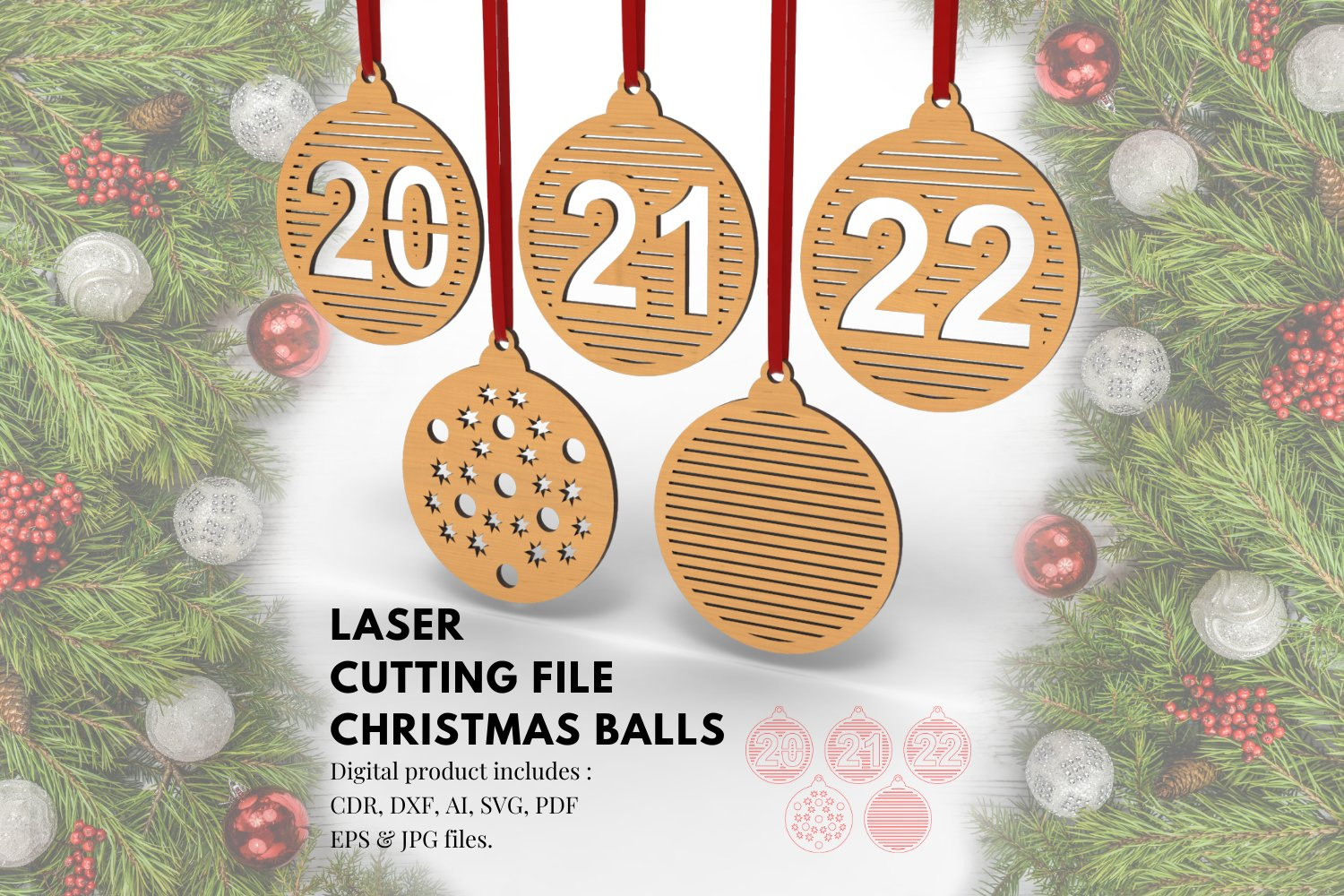 Christmas Balls Ornaments No.2- laser cutting file example image 1