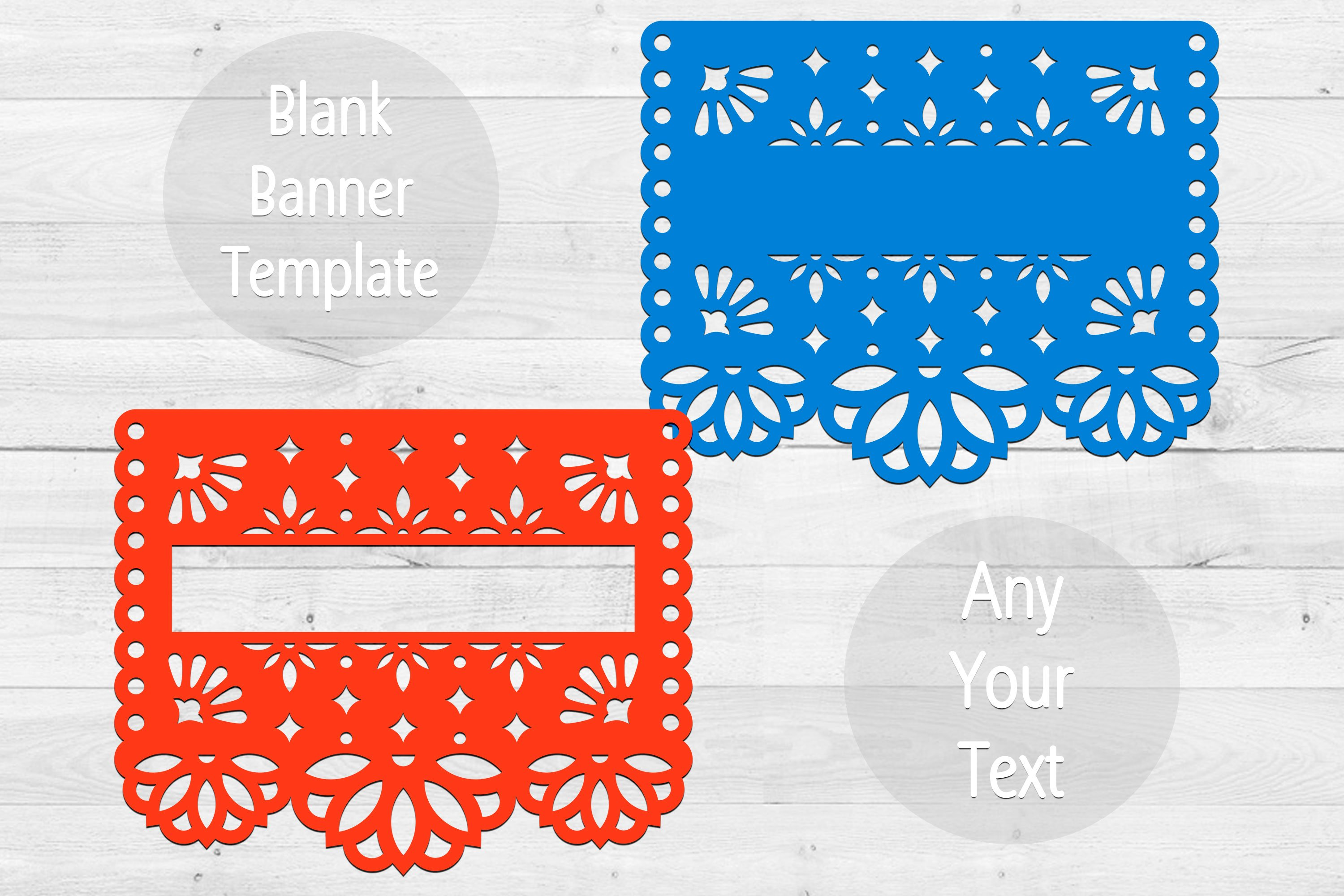 2 SVG blank banners templates in papel picado style example image 1