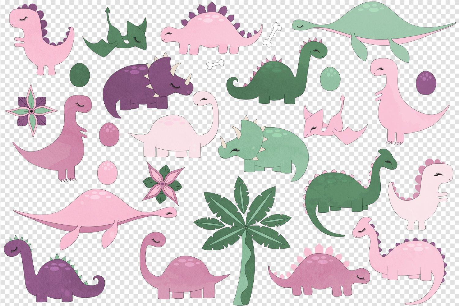 Cute Pink Dinosaurs Clip Art example image 2