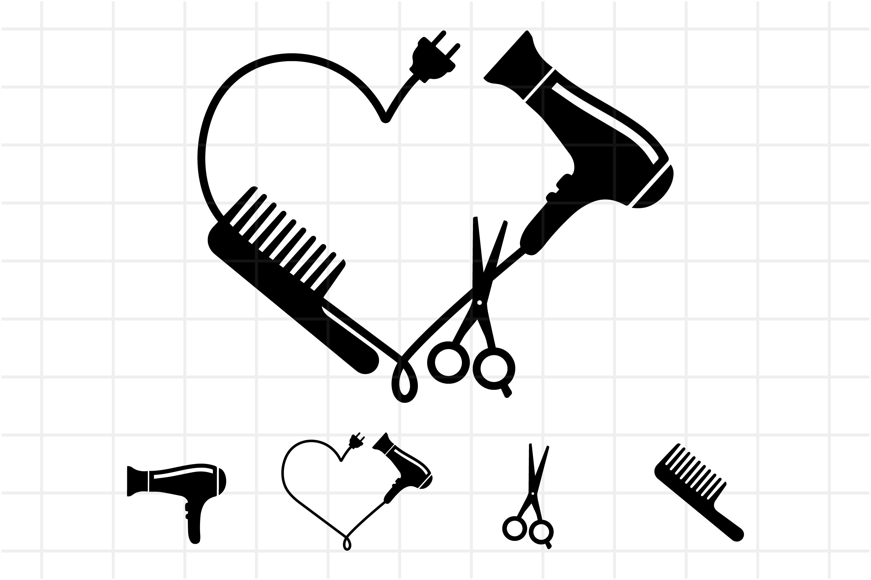 Download Hairdresser Logo Svg Comb Hair Dryer And Scissors Cut Files 694054 Cut Files Design Bundles