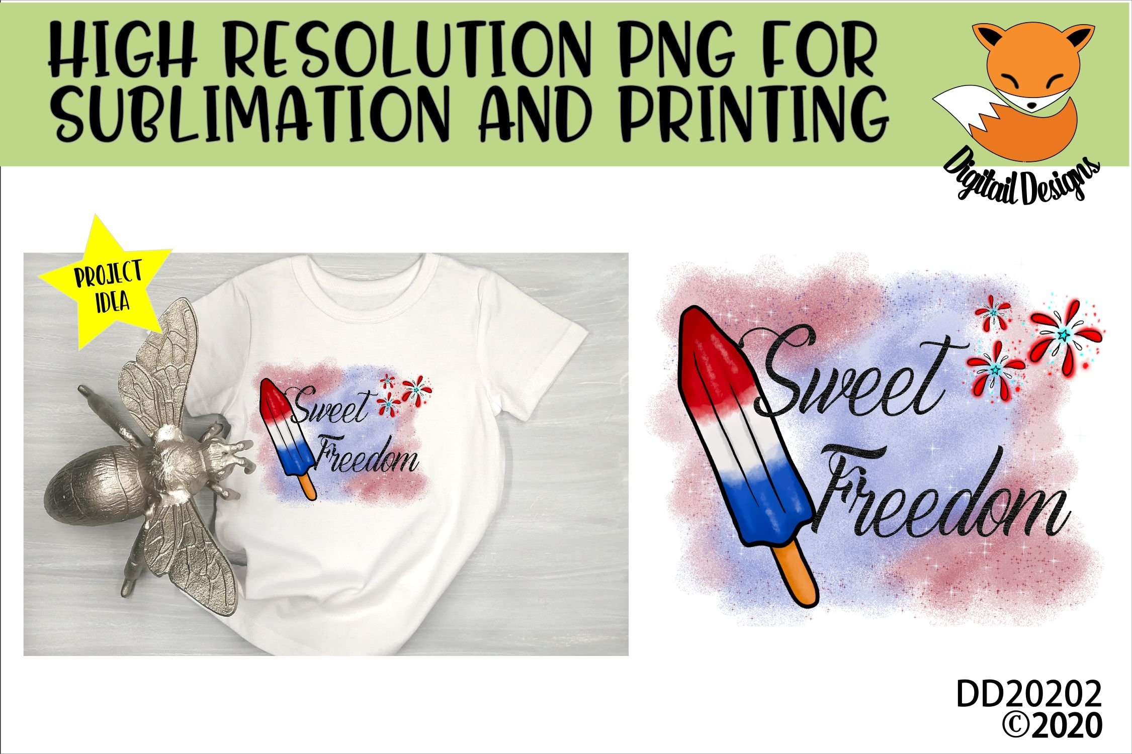 Patriotic Sweet Freedom Popsicle Sublimation example image 1