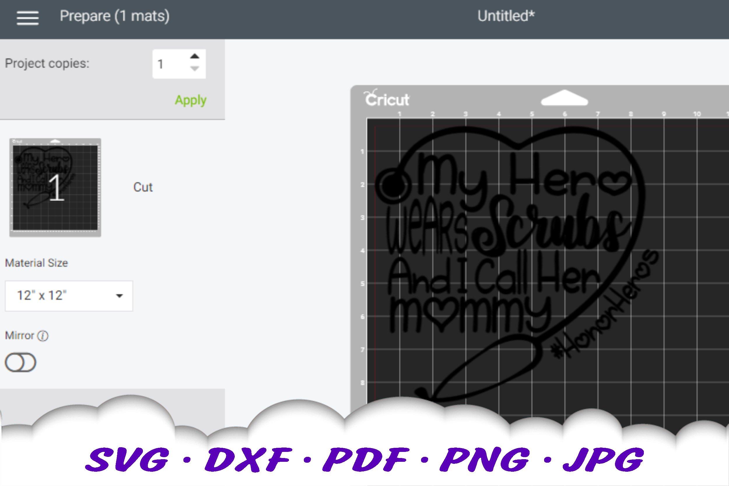 My Hero Scrubs Nurse Mom Stethoscope SVG DXF Cut Files example image 2