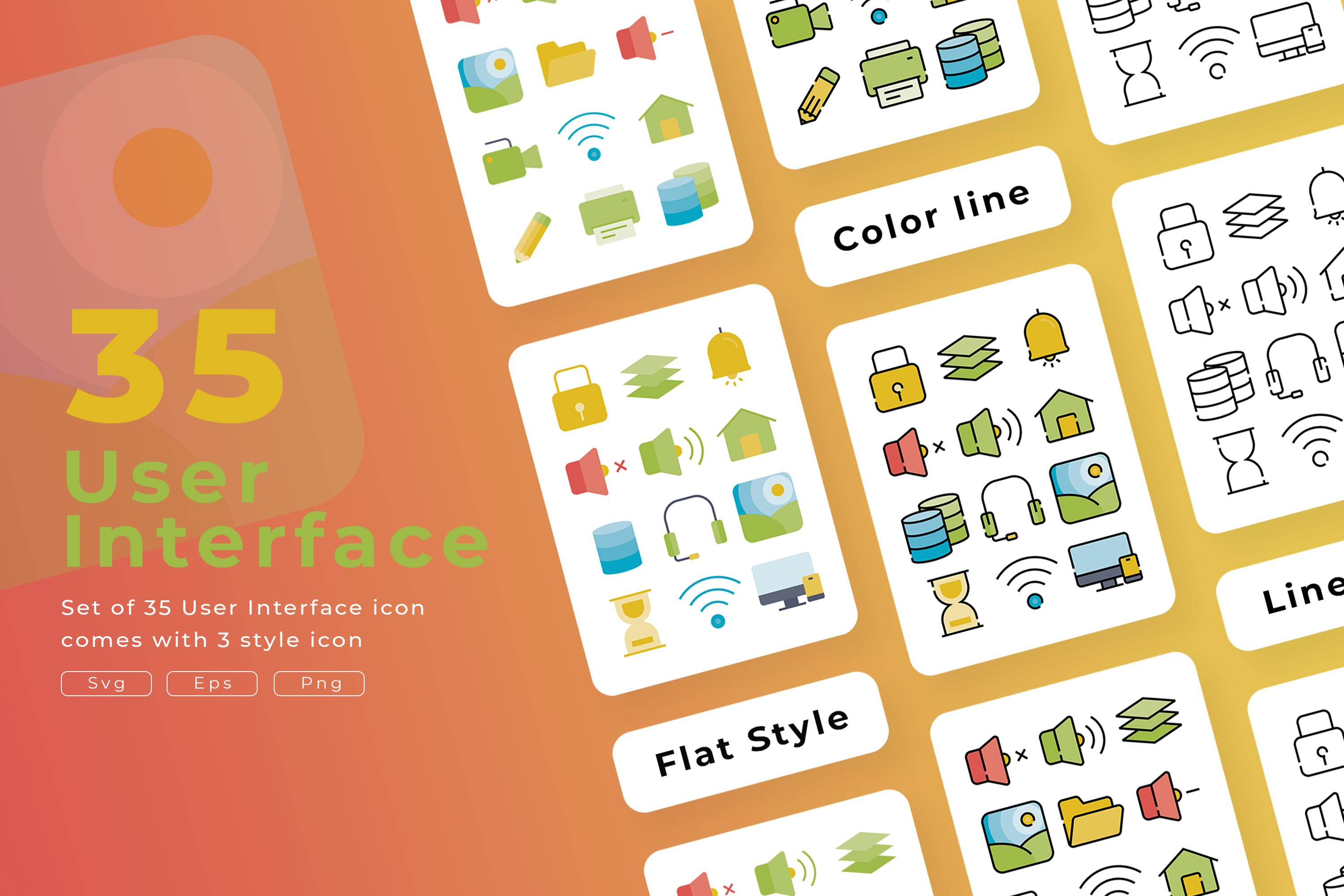 Set of 35 User interface with 3 stye icon design example image 1