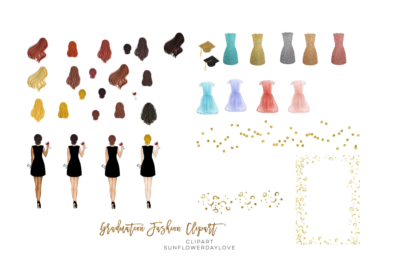 College Senior Graduation Girl Gold Fashion clipart example image 8