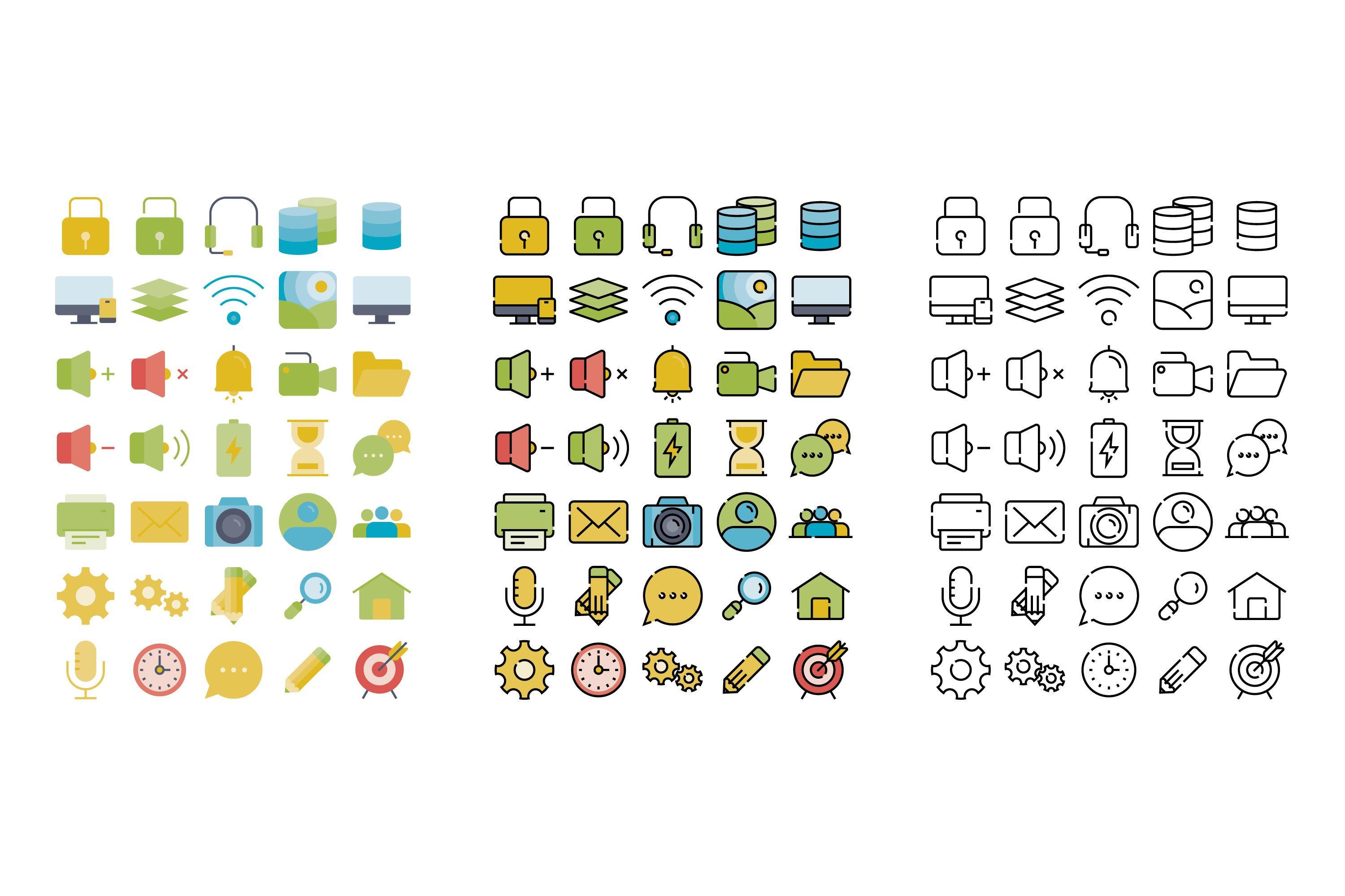 Set of 35 User interface with 3 stye icon design example image 2