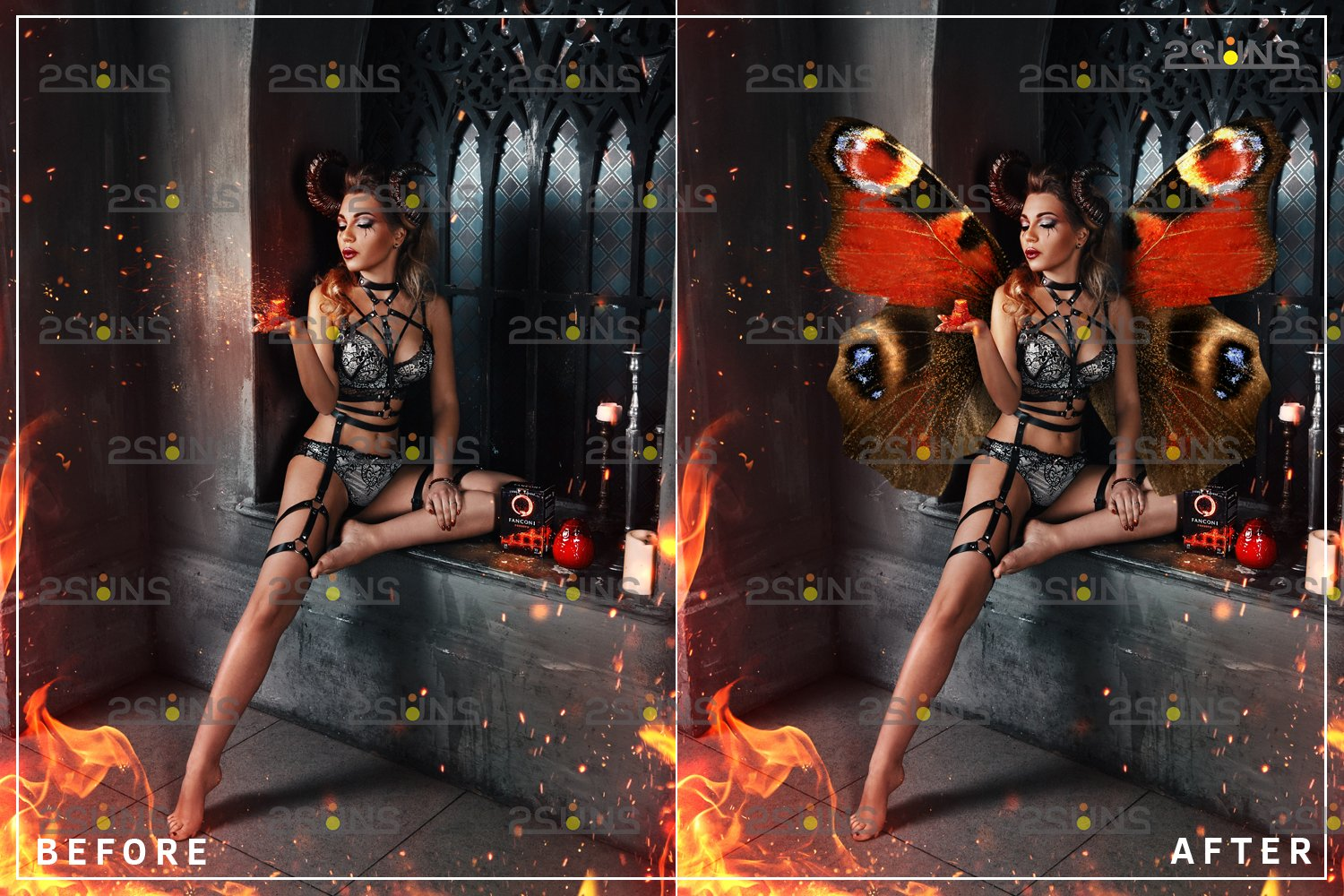 Colorful Butterfly Wings Photoshop Overlay example image 5