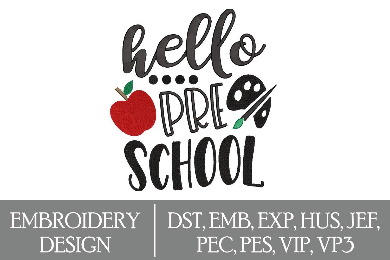 Hello Pre School Machine Embroidery Design example image 1