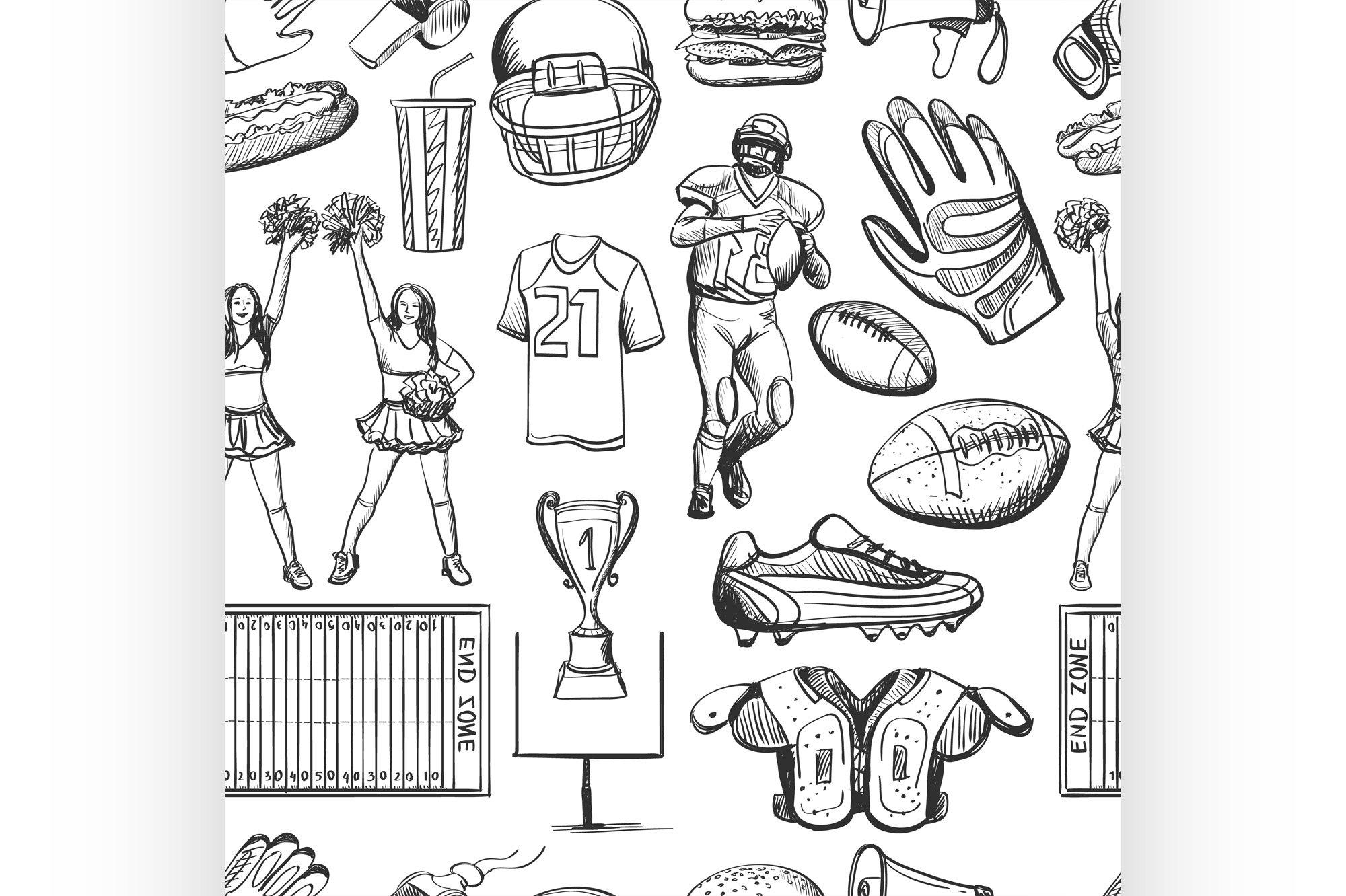 American Football Seamlees pattern example image 1