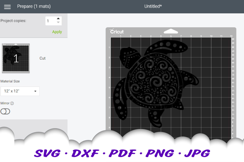 Spiral Sea Turtle SVG DXF Cut Files Bundle example image 2